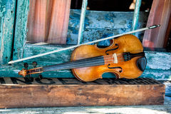 Blue Grass Band Instruments. In old rustic cabin setting Royalty Free Stock Photos