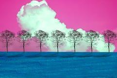 Blue grass, trees, pink sky clouds. Blue grass, trees, pink sky clouds, abstract concept of nature Stock Image