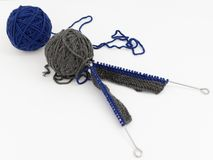 Balls of Wool with Knitting Needles stock image