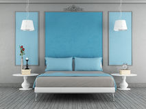 Blue and gray bedroom Royalty Free Stock Image