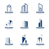 Blue gray Building logo set vector design Stock Images