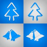 Blue and gray christmas cards. With paper christmas elements Royalty Free Stock Photos