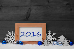 Blue Gray Christmas Decoration, Snow, 2016 Royalty Free Stock Images