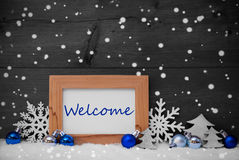 Blue Gray Christmas Decoration, Snow, Welcome, Snowflakes Royalty Free Stock Image