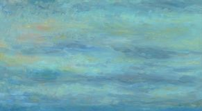 Blue and gray clean background. Oil painting on wood. Blue and gray clean background. Autumn cloudy sky. Uniform texture. Oil painting on wood stock illustration