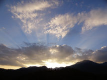 Blue and gray cloudy evening sky over the mountain range. In Northern Thailand Royalty Free Stock Photos