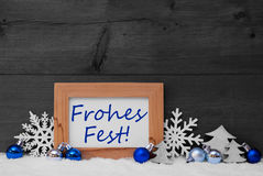 Blue Gray Decoration, Snow, Frohes Fest Mean Merry Christmas Royalty Free Stock Photo
