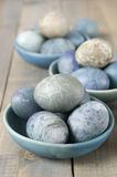 Blue and gray Easter eggs Stock Photos