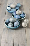 Blue and gray Easter eggs Royalty Free Stock Photos