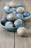 Blue and gray Easter eggs Stock Image