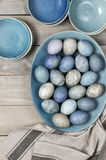 Blue and gray Easter eggs Stock Images