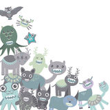 Blue and gray Funny monsters set on white background. Vector Royalty Free Stock Photography