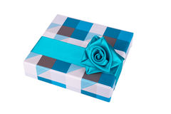Blue-gray gift box with ribbon Royalty Free Stock Photography