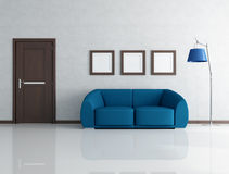 Blue and gray interior Stock Photos