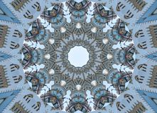 Blue gray kaleidoscope pattern abstract background. Circle pattern. Abstract fractal kaleidoscope background. Abstract fractal pat Stock Image