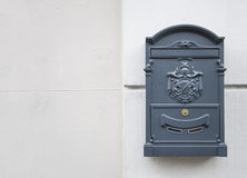 Blue gray mail box Royalty Free Stock Images