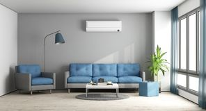 Blue and gray modern lounge. Blue and gray modern living room with sofa,armchair and air conditioner - 3d rendering Stock Image
