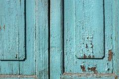Blue gray paint mottled wooden doors Stock Photography