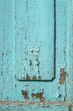 Blue gray paint mottled wooden doors Stock Photo