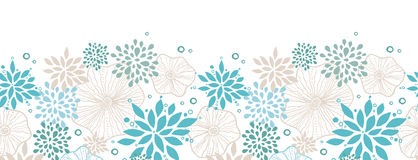 Blue and gray plants horizontal seamless pattern Royalty Free Stock Photos