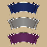 Blue, gray and purple ribbon set. Vector Royalty Free Stock Images