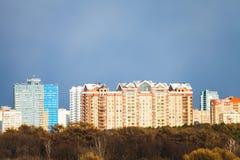 Blue gray rainy dark overcast sky over city Royalty Free Stock Photo