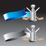 Blue and gray ribbons with hockey stick and trophy Stock Photo