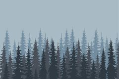 Blue and gray shapes fir forest on light blue, design elements, vector. Illustration Stock Photo