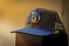 Blue and Gray Sonic Fitted Cap Royalty Free Stock Photo