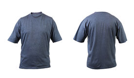 Blue gray t-shirt front and back view. Stock Photography