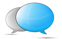 Blue an gray talk balloons Royalty Free Stock Images