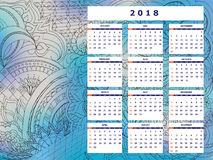Blue-gray tangle zen pattern calendar year 2018. Business english calendar for wall on year 2018 on the gradient background with hand drawn tangle zen pattern vector illustration