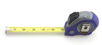 Blue and Gray Tape Measure. White Background stock photos
