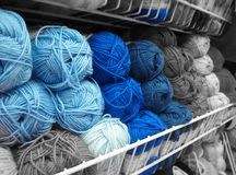 Blue on gray threads royalty free stock image