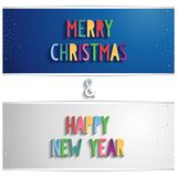 Blue and gray vector horizontal banner with xmas a Royalty Free Stock Photos