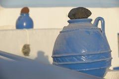 Blue Greek amphoras Stock Images