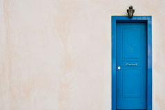 Blue Greek door Stock Images