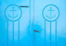 Blue Greek door Royalty Free Stock Photo