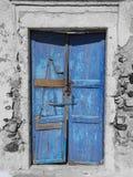 Blue Greek Door Stock Photo