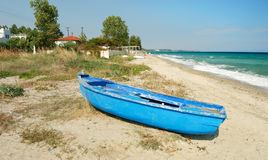 Blue greek fisherman boat Royalty Free Stock Photography