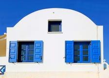 Blue greek windows Royalty Free Stock Photos