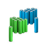 Blue and green AA batteries. Over white background Stock Photo