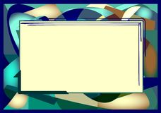 Blue green abstract background with empty space to add text. Abstract green blue background with rectangle framed to add text royalty free illustration