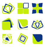 Blue green abstract business icon collection Stock Images