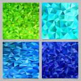 Blue and green abstract chaotic triangle pattern background set - vector mosaic graphic. Design royalty free illustration