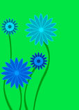 Blue and green abstract flower on yellow Stock Images
