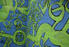 Blue and green abstract graffiti Stock Images