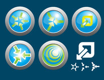 Blue and green arrow button Stock Photography