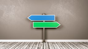 Fork Arrows Road Sign in the Room with Copy Space. Blue and Green Arrow Shaped Road Sign on Wooden Floor Against Gray Wall with Copy Space 3D Illustration royalty free illustration