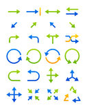 Blue-green arrows icons set. Set of 24 blue-green arrows icons Royalty Free Stock Photo